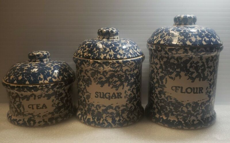 3 canister set Blue Spongeware Stoneware Ceramic Country Hand Painted