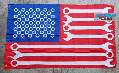 Mechanic American Flag Banner 3x5 Veteran US USA Patriot United States Wrenches - Veteran Flag Banner