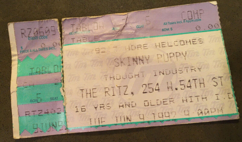 Vintage 1992 NYC SKINNY PUPPY Band Comp Ticket Stub The Ritz 6/9/92
