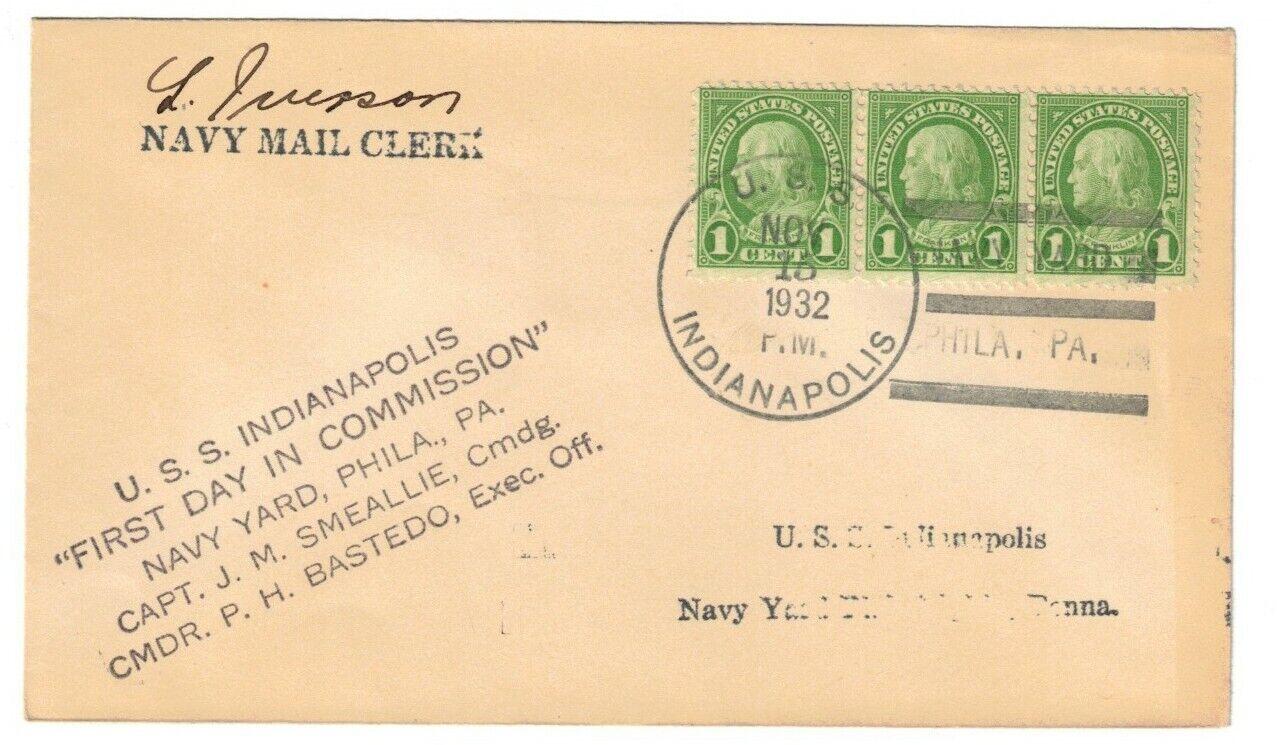 USS INDIANAPOLIS CA-35, NOV 15, 1932, NAVY YARD, PHILA. PA., COMMISSIONING - $13.16