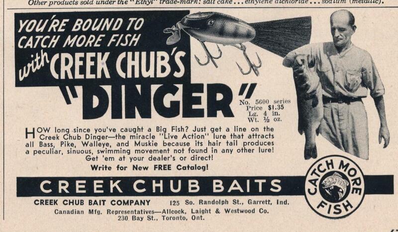 Magazine Ad - 1951 - Creek Chub Bait Co - Garrett, IN - The DINGER