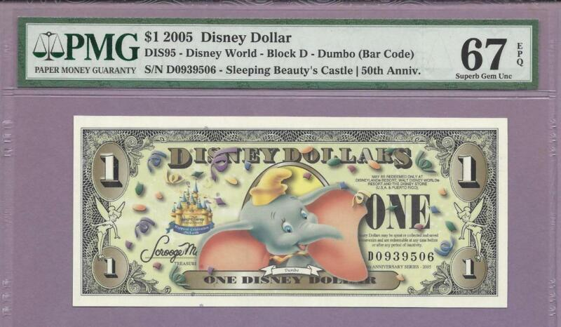 2005 $1  Disneyland Disney Dollar CINDERELLA Crisp UNC MINT T 50th Anniversary