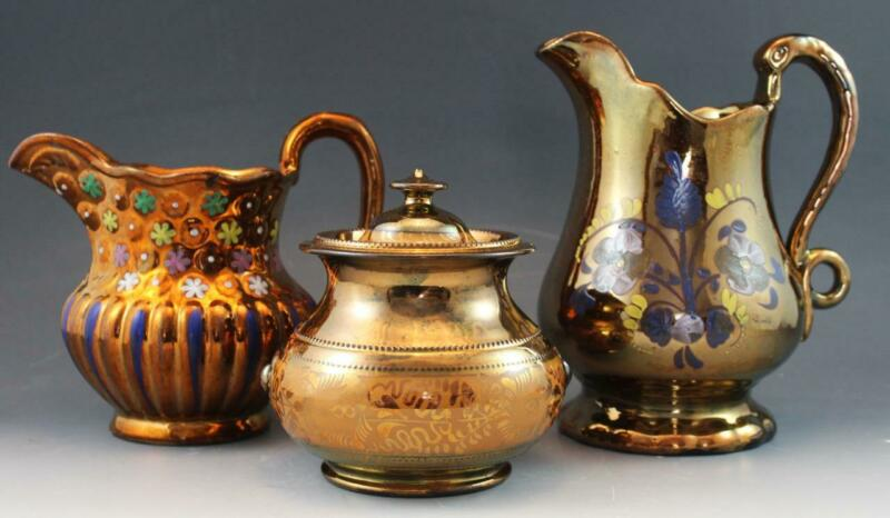 Group of Antique English Copper Lusterware 2 Pitchers & 1 Sugar Bowl