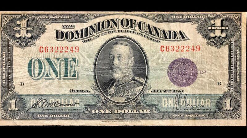 1923 Dominion Of Canada 1$ PURPLE SEAL - F/VF - RARE Dc-25k