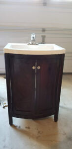 24 Inch Vanity  in Espresso color with Porcelain Top and Faucet