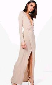 Long Nude Boohoo Dress