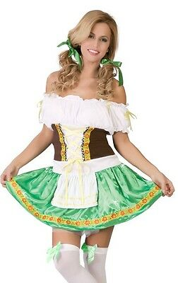 Damen Sexy Deutsches Oktoberfest Bier Mädchen Gretal Kostüm Kleid Outfit 12-14 ()