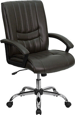 Brown Mid Back Leather Computer Office Desk Chair New