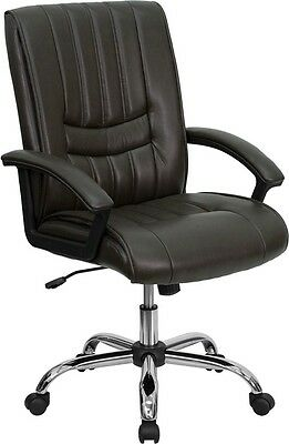 Lot Of 10 Brown Leather Mid Back Conference Room Table Or Office Desk Chairs New