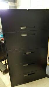 Filing Cabinets - Global 5 Drawer Black 9300 Series Lateral Filing Cabinets in Black