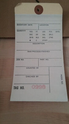 Quill Inventory Tags Plain 2part 500ct Case 6.25x3.125 500-999 Office Supply