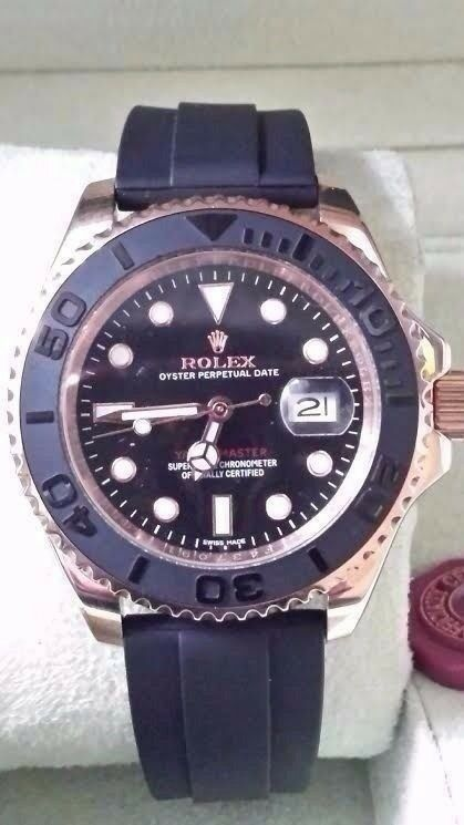 446638b1f92 Rolex yacht master everose oyster flex strap sweeping hands sapphire glass  waterproof