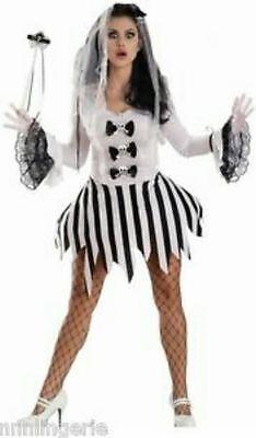 Sexy Escante Ghost Girl Halloween Costume Bride Bridal Dress Adult L NIP Skull