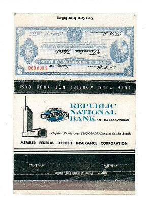 REPUBLIC NATIONAL BANK DALLAS TEXAS MATCHBOX LABEL ANNI '50 AMERICA FIAMMIFERI