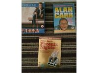 """Phoenix Nights series 1 and 2"""" house series 1 and Alan Carr dvds"""