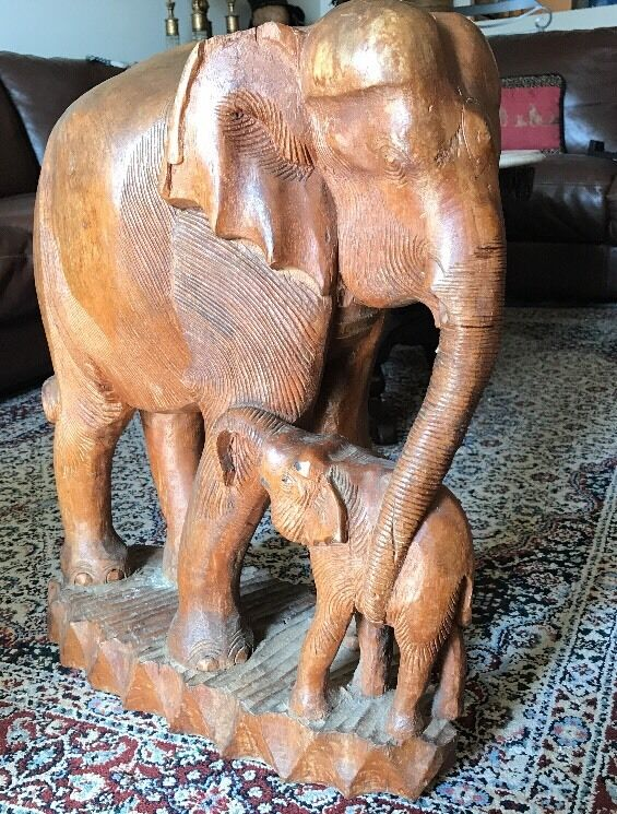 """Rare Antique Hand Carved Solid Teak Wood Elephant & Baby 24 """" From Thailand 1850"""