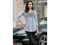 100 MILES PRESENT ZEBRA WHOLESALE COTTON STRIPES EMBROIDERED TUNIC COLLECTION READY TO WEAR