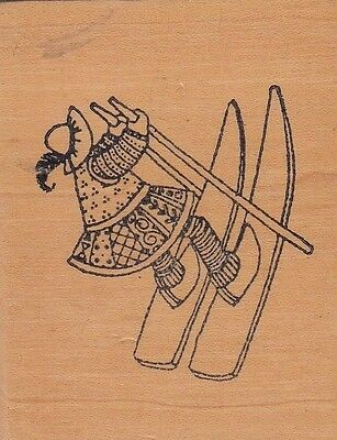 """skier paper garden Wood Mounted Rubber Stamp  2 1/2 x 2""""  Free Shipping"""