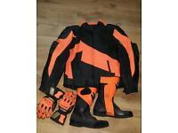 Frank thomas leather motor bike leatherjacket boots gloves