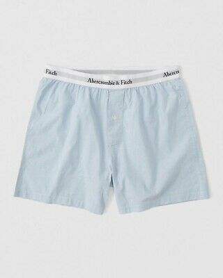 Abercrombie & Fitch Mens Woven Boxer Light Blue Large