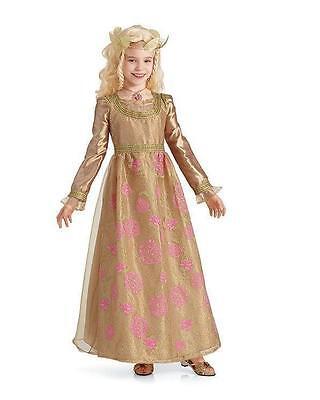 NEW Girls Chasing Fireflies Aurora Gold Coronation Gown Costume & Crown Sz - Aurora Gold Kostüm