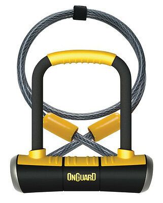Onguard Fahrrad Bügelschloss mit Seil und Halter Pitbull Mini DT 8008