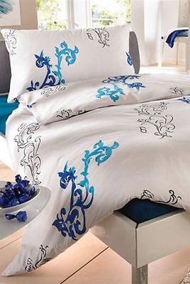Bettwäsche Bett Garnitur 2 tlg. 160 x 210 / 65 x 100 blau-weiss Baumwolle