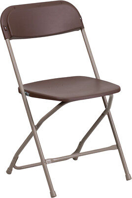 100 Pack 650 Lbs Weight Capacity Lightweight Brown Plastic Folding Chair