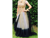 Womens gold black size 8 wedding bridesmaid gown lace dress