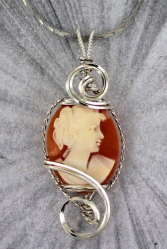Vintage  Antique Shell Cameo Pendant Necklace in Sterling Silver Wire Wrapped