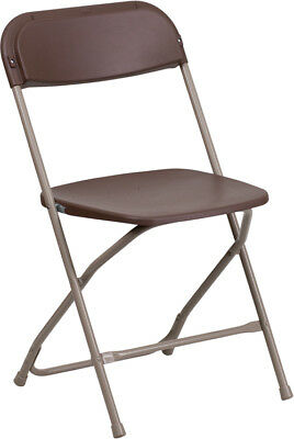 100 Pack 650 Lbs Weight Capacity Lightweight Brown Plastic Folding Chairs