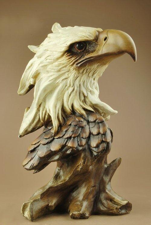 "Large Resin Eagle/Hawk Head Bust Statue Figure 11""High"
