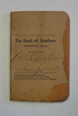 Renfrow Oklahoma Bank Account Ledger Booklet 1906 Pre Statehood