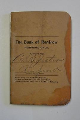 Renfrow Oklahoma Bank Account Ledger Booklet 1906 Pre Statehood