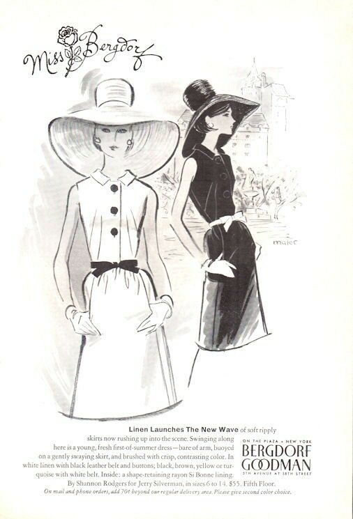 1965 Bergdorf Goodman PRINT AD Fashion Dress and Hats ART Great Vintage Decor