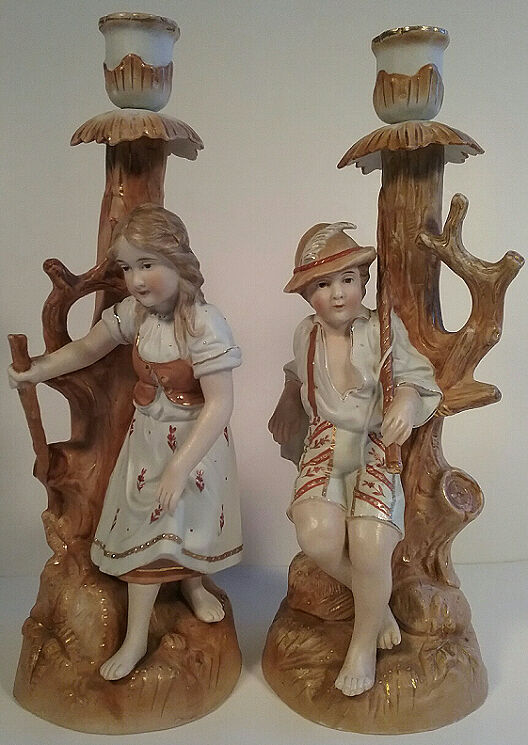 Candle Sticks Pair Bisque Boy Girl German Costume Handpainted Gold Trim Large