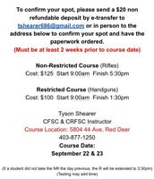 Canadian Restricted Firearms Course Nov 3 & 4