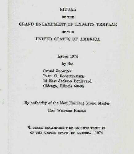 US Knights Templar Encampment Ritual, 1974, Lot 156