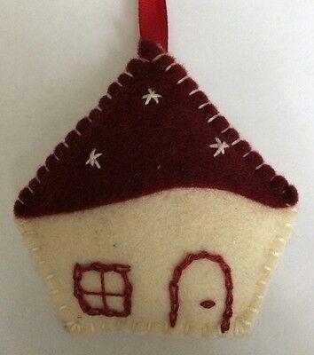 Handmade Felt Christmas Tree Decoration Beige/Burgundy House Father Christmas