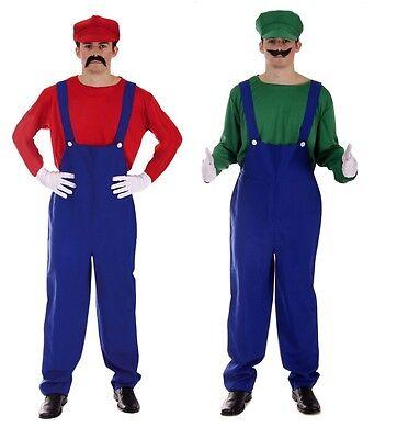 Erwachsene Super Klempner Bros 80er Jahre Videospiel Kostüm Arbeiter Herren Stag