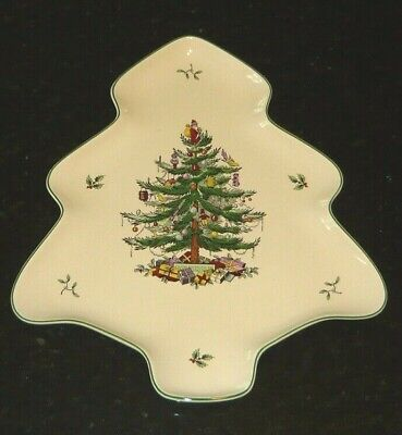 SPODE Christmas Tree TREE-SHAPED Platter / Tray - NEW in BOX - Large 14