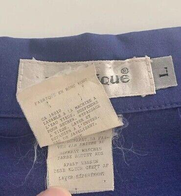 Vtg MATINIQUE Men's Blue Short Sleeve Camp Shirt Collar Detail Size Large