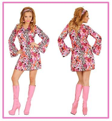 Hippie Girl pink bunt Kreise Groovy Style Kleid Flowerpower 70er Jahre , - Flower Power Girl Kostüm