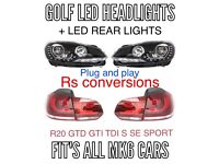 Mk6 Golf r20 led front headlights and led rear lights fits Gtd Gti tsi
