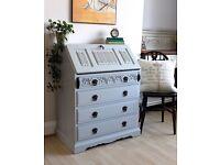 Stunning Vintage Old Charm Shabby Chic Painted Bureau Desk. We deliver