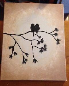 "16"" X 20"" Birds canvas painting"