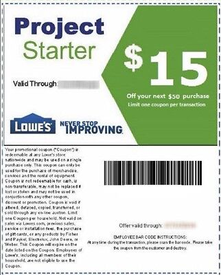 Two(2)Lowe's $15 OFF $50 Printable-Coupons -exp 3/30 - FAST Instant Delivery