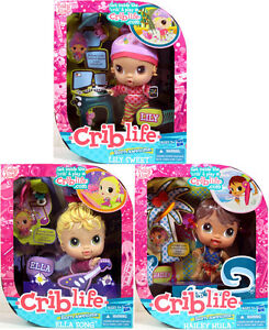 Baby-Alive-Crib-Life-LOT-OF-3-LILY-SWEET-ELLA-SONG-HAILEY-HULA-Friendship-Doll