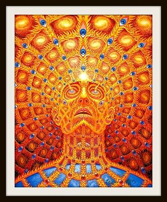 """4.25"""" Psychedelic Burning Man vinyl sticker. Fantasy LSD, mushroom vision decal."""