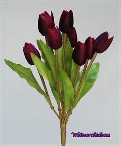 artificial small dark purple tulip bouquet 9 heads flower